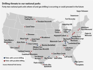 42 National Parks in the USA have oil or gas drilling taking place or planned  within their boundaries