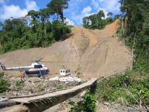 Camisea Pipeline construction cuts through old growth tropical rainforest in Peru/ courtesy of A.Goldstien /Survival Int